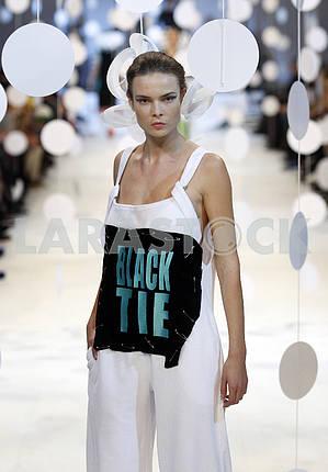 A model demonstrates outfit by Ukrainian designer Alexey Zalewskiy