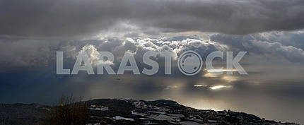 Panorama with Ah-petri on the sea and clouds