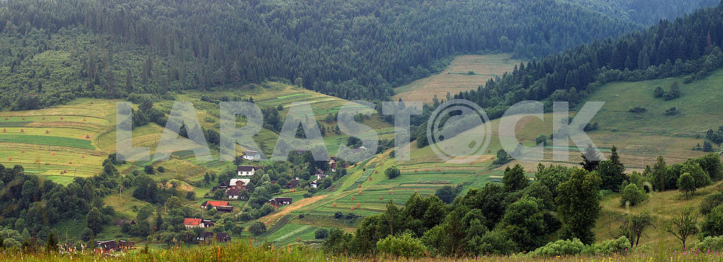 Panorama Carpathians villages in mountains
