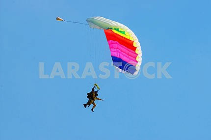 The parachutist the instructor lands with the person