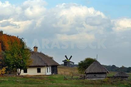 Сельский пейзаж с мельницей