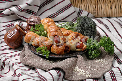 Sausage baked in dough