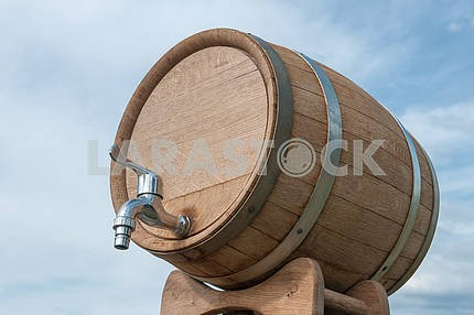 Wine barrel with a tap