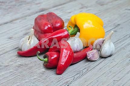 pepper, garlic and paprika