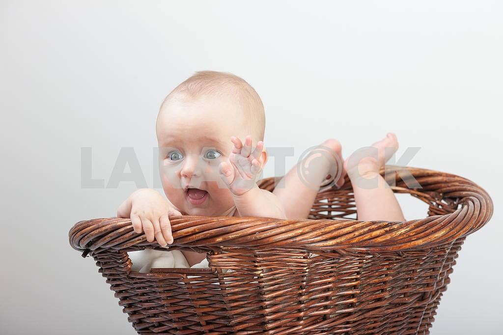Newborn baby in basket — Image 4372