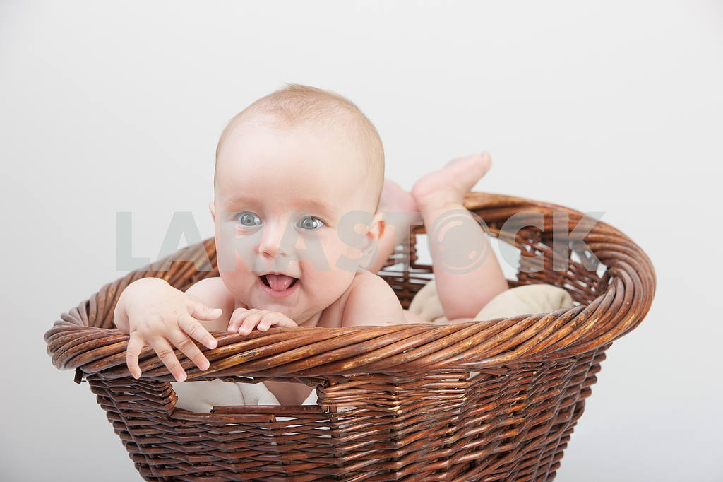Newborn baby in basket — Image 4373