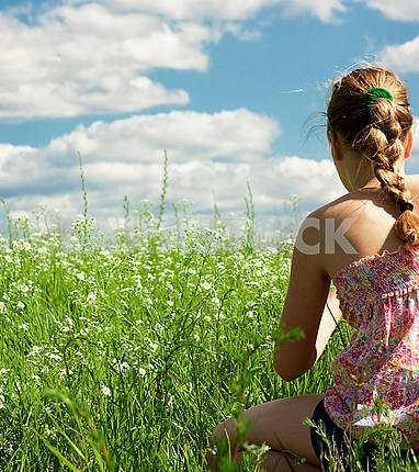 pretty girl having fun in the field