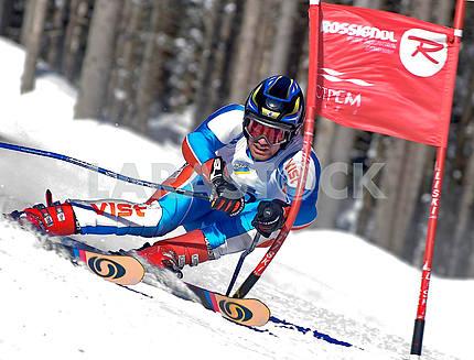 Skier on slalom track