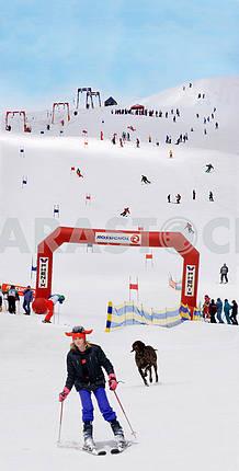 Лыжники на горе Драгобрат