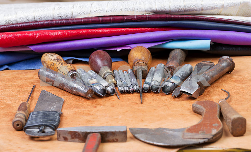 Leather Craft Tools On A Wooden Background Leather Craftmans Work