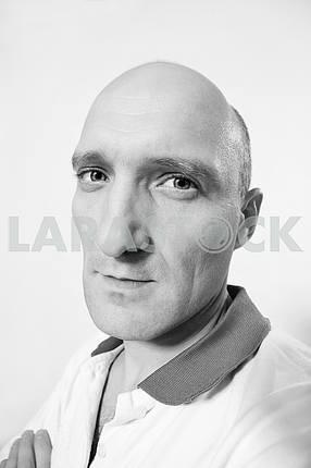 Portrait of the man. Bald