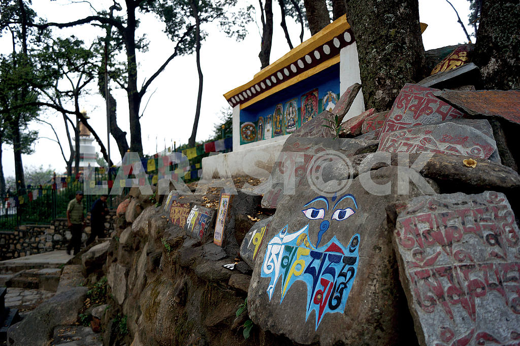 Buddhist mani stones. Nepal, Kathmandu — Image 46643