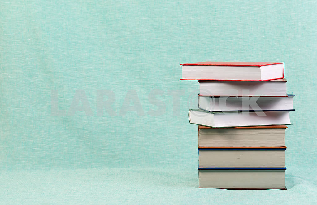 Stack of hardback books on wooden table. Back to school. — Image 47153