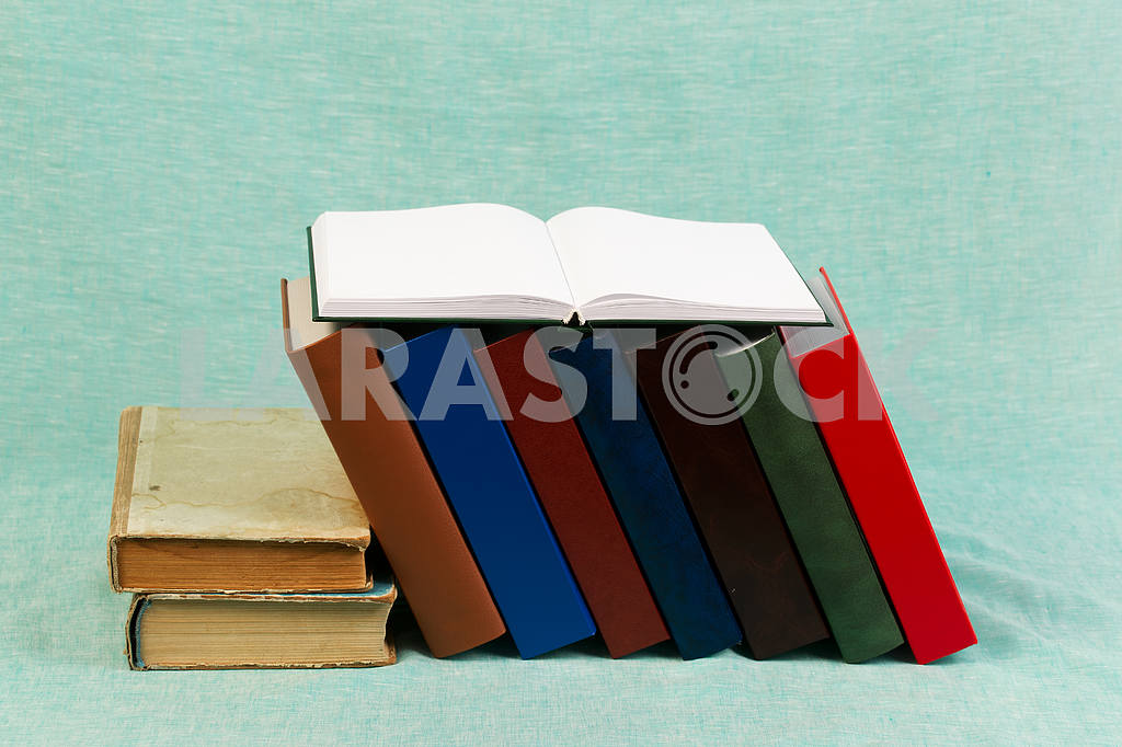 Stack of hardback books on wooden table. Back to school. — Image 47167
