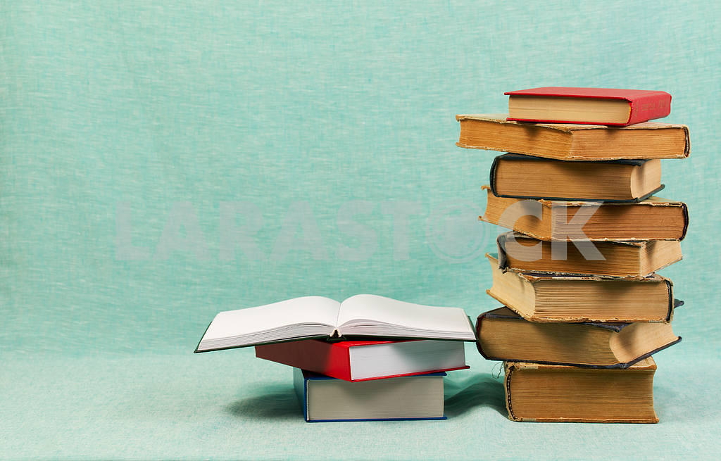 Stack of hardback books on wooden table. Back to school. — Image 47176