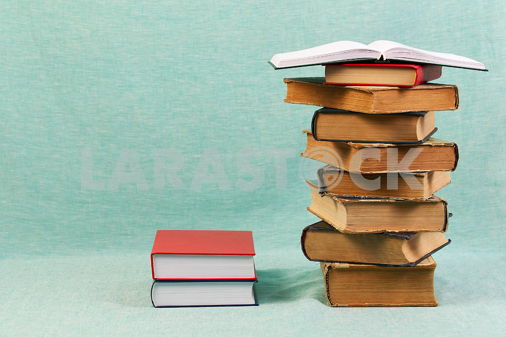 Stack of hardback books on wooden table. Back to school. — Image 47178