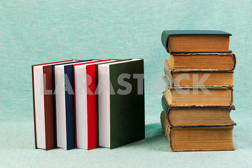 Stack of hardback books on wooden table. Back to school. — Image 47185