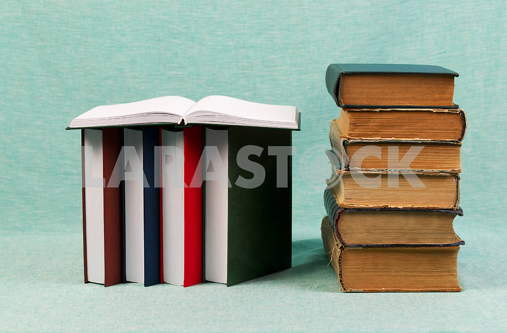 Stack of hardback books on wooden table. Back to school. — Image 47188