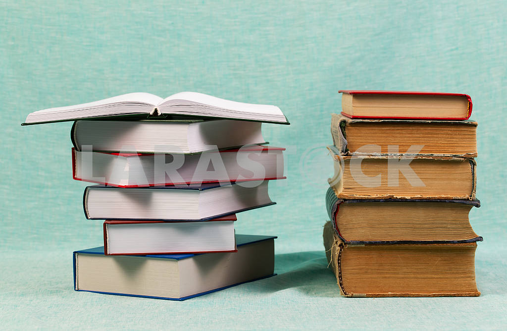 Stack of hardback books on wooden table. Back to school. — Image 47196
