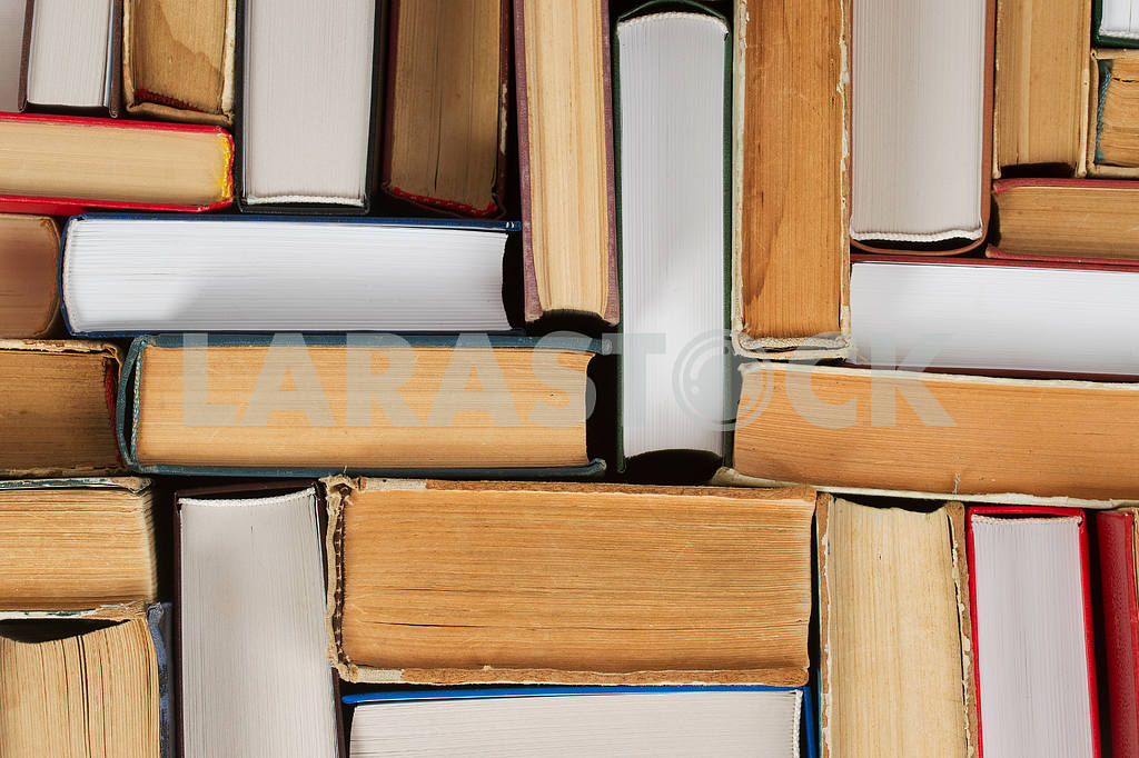 Stack of hardback books on wooden table. Back to school. — Image 47318