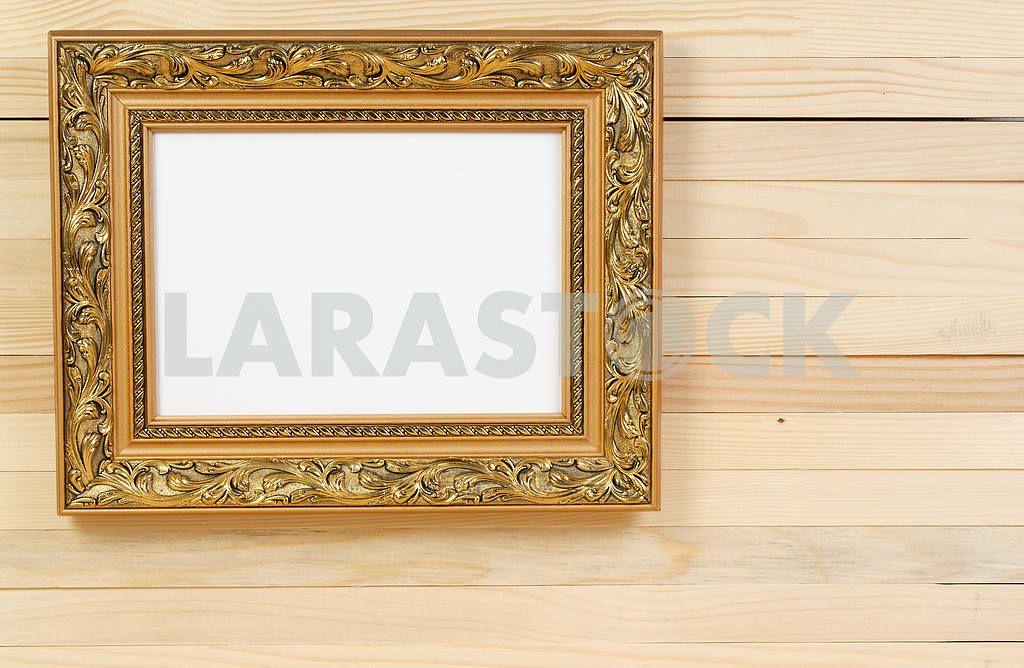 Frame on wooden wall. Interior Design. Copy space — Image 47453