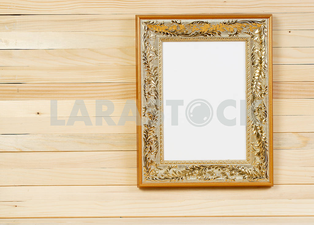 Frame on wooden wall. Interior Design. Copy space — Image 47486