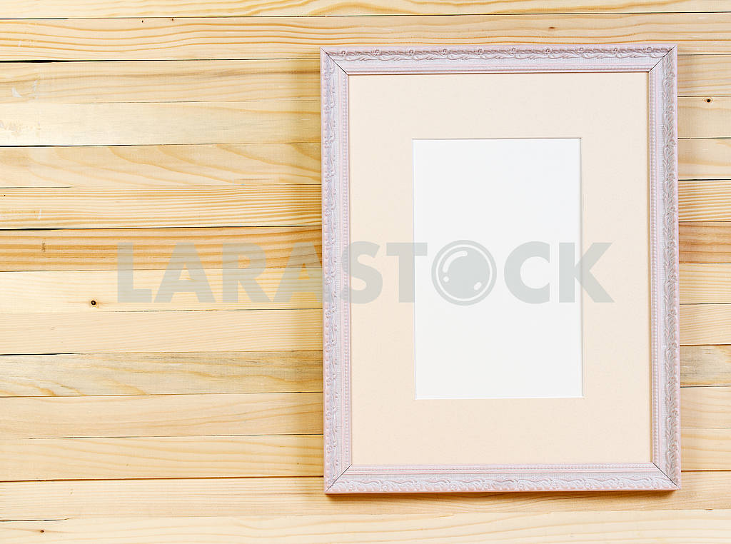 Frame on wooden wall. Interior Design. Copy space — Image 47520
