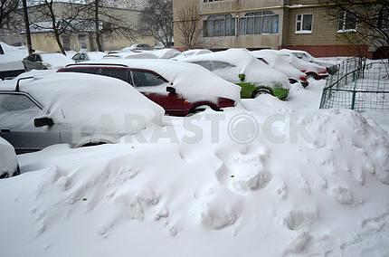 Машины засыпанные снегом