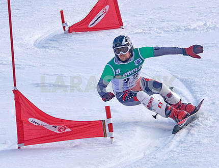 Athlete on snowboard