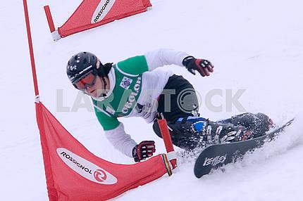Athlete on snowboard