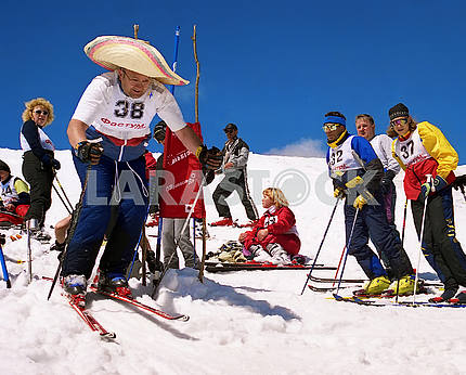 Holidaymakers on the mountain Dagobrat