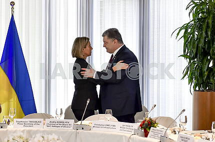 Federica Moherini and Petro Poroshenko