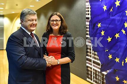 President of Ukraine Petro Poroshenko and European Commissioner for Trade Cecilia Malmström