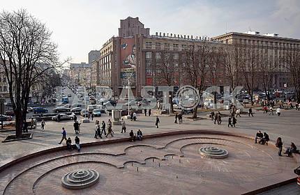 Crossroads Khreshchatyk street Bohdan Khmelnytsky (formerly Lenin) CUM right building before reconstruction