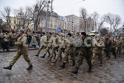 Participants in the march of defenders of the Fatherland in Lviv