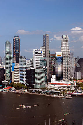 Singapore. View of the bay and the high-rise buildings