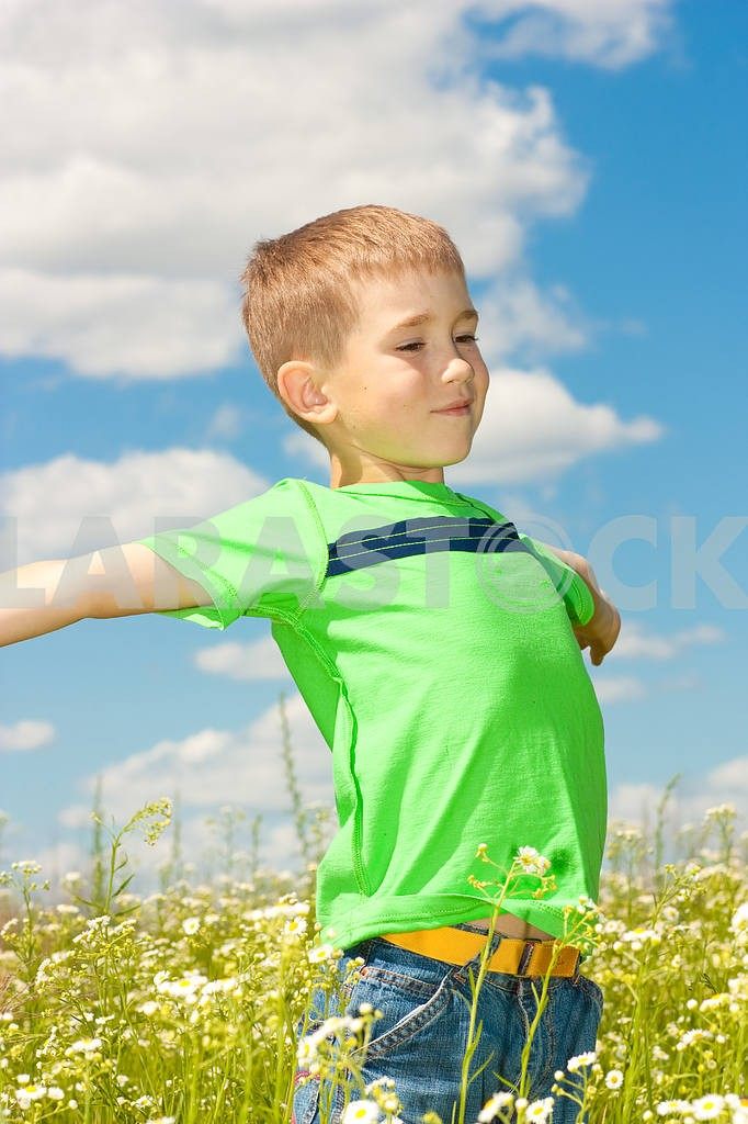 Happy boy enjoy on the meadow — Image 4875