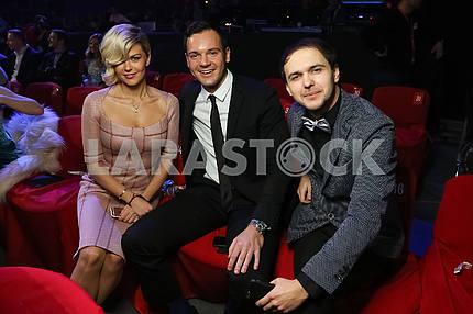 Irisha Blokhina, Alexey Brynzak, Viktor Demchuk at the award ceremony of the M1 Awards 2016
