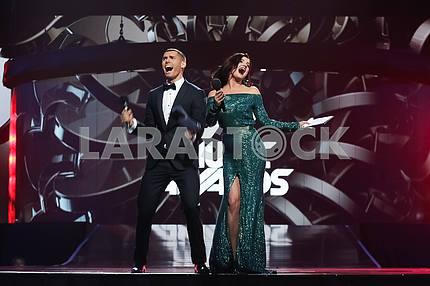 Nikita Dobrynin and Olya Tsybulskaya at the award ceremony of the M1 Awards 2016