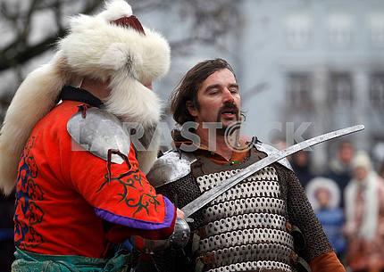 Рыцари - участники реконструкции Битва за Киев 1240