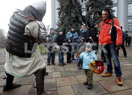 Knights - participants of the reconstruction Battle for Kiev 1240