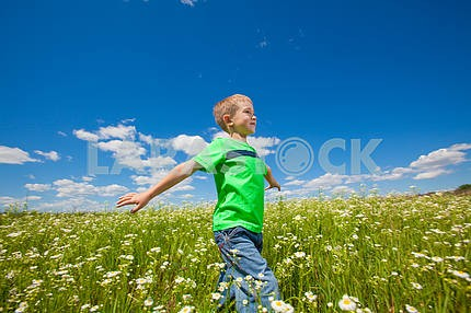 Happy boy enjoy on the meadow