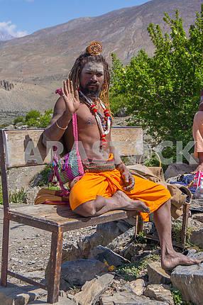 The sadhu meditates