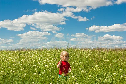 Happy boy enjoy on the meadow
