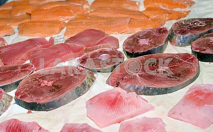 Steaks fresh tuna on display fish market