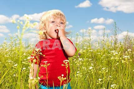 Pretty child having fun in the field