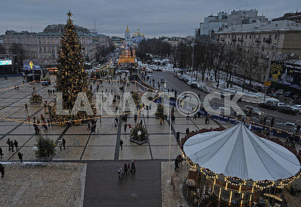 New Year tree on Sofiyskaya Square in Kiev