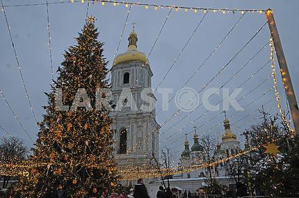 New Year tree on Sofiyskaya Square in Kiev