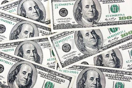 Lot of one hundred dollar bills.