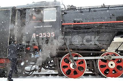 Steam locomotive train retro